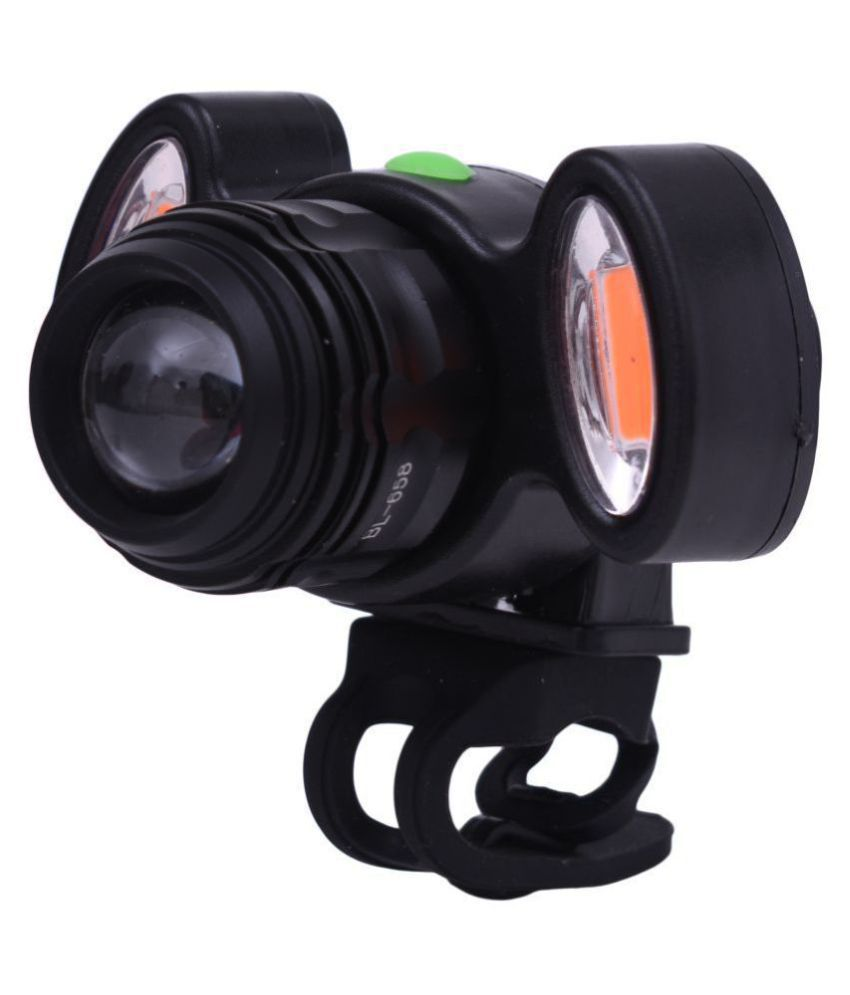 Dark Horse Bicycle Zoom Able Feature 4 Mode Headlight + Holder Clip Mount Different Modes with 2 Warning Lights, USB Rechargeable  Black