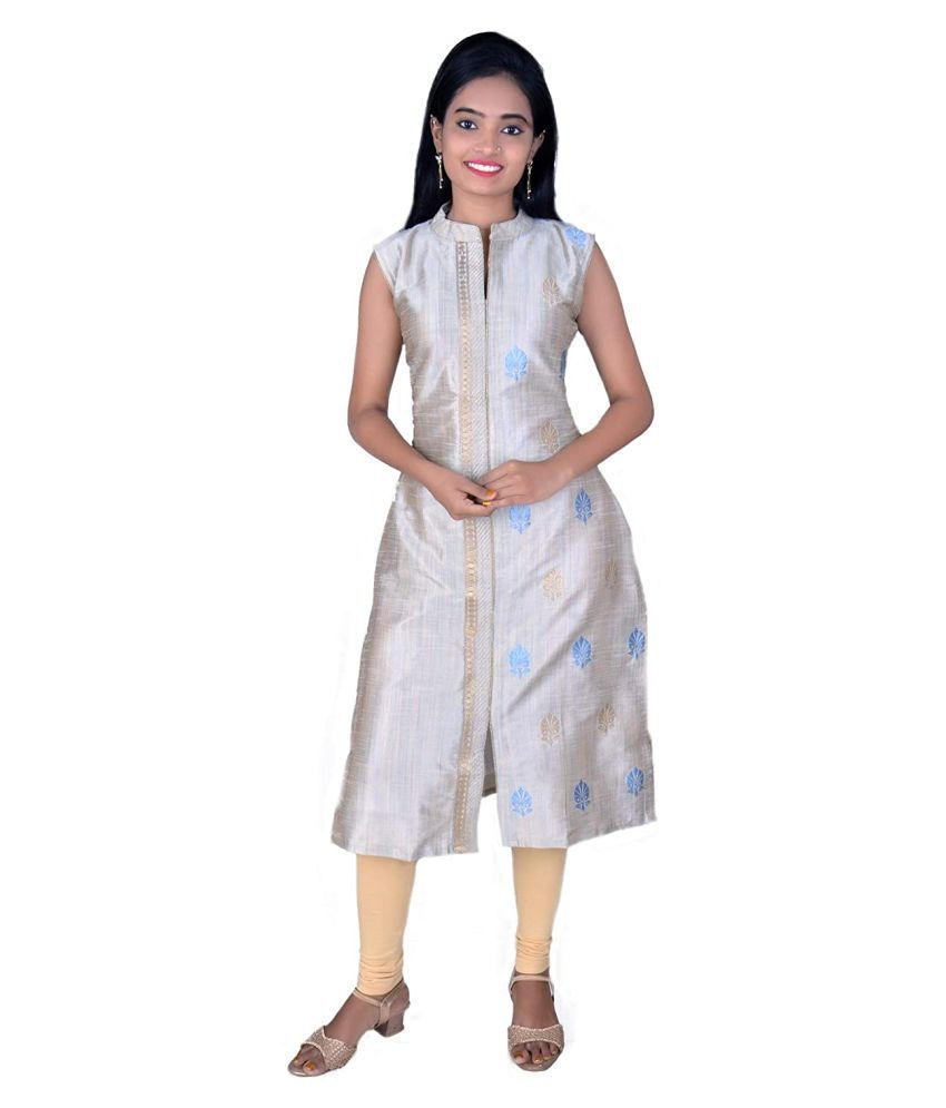 SK Creation Silver Silk Straight Kurti