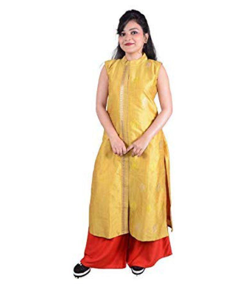 SK Creation Yellow Silk Straight Kurti