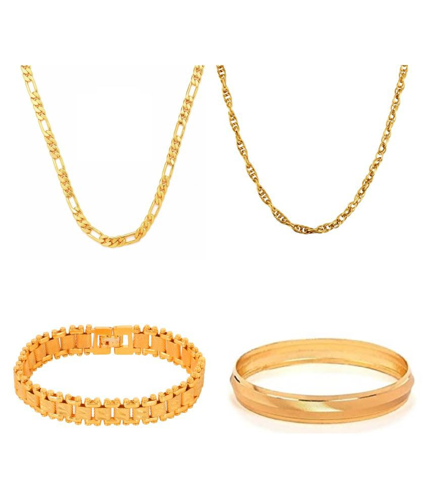 GoldNera GoldPlated Brass Gents Jewellry Combo Set(2.10)
