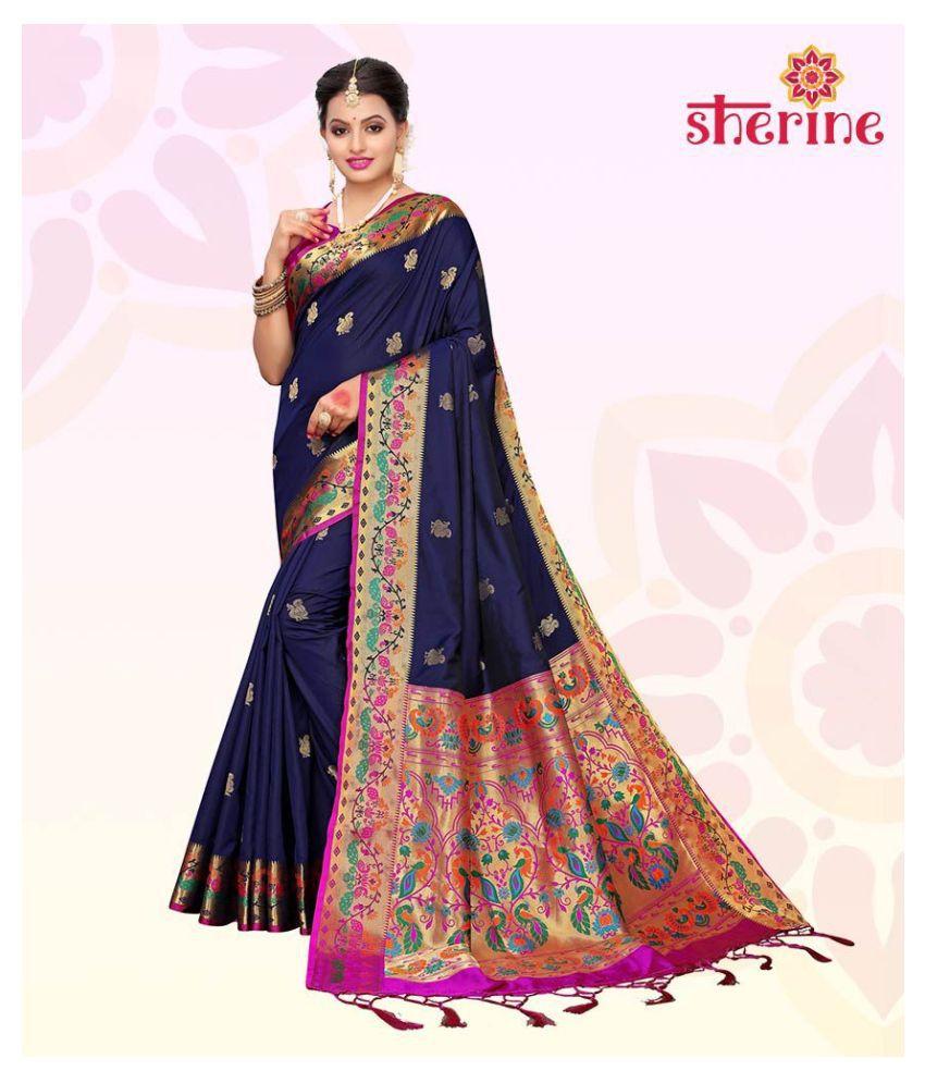 Sherine Blue Art Silk Saree