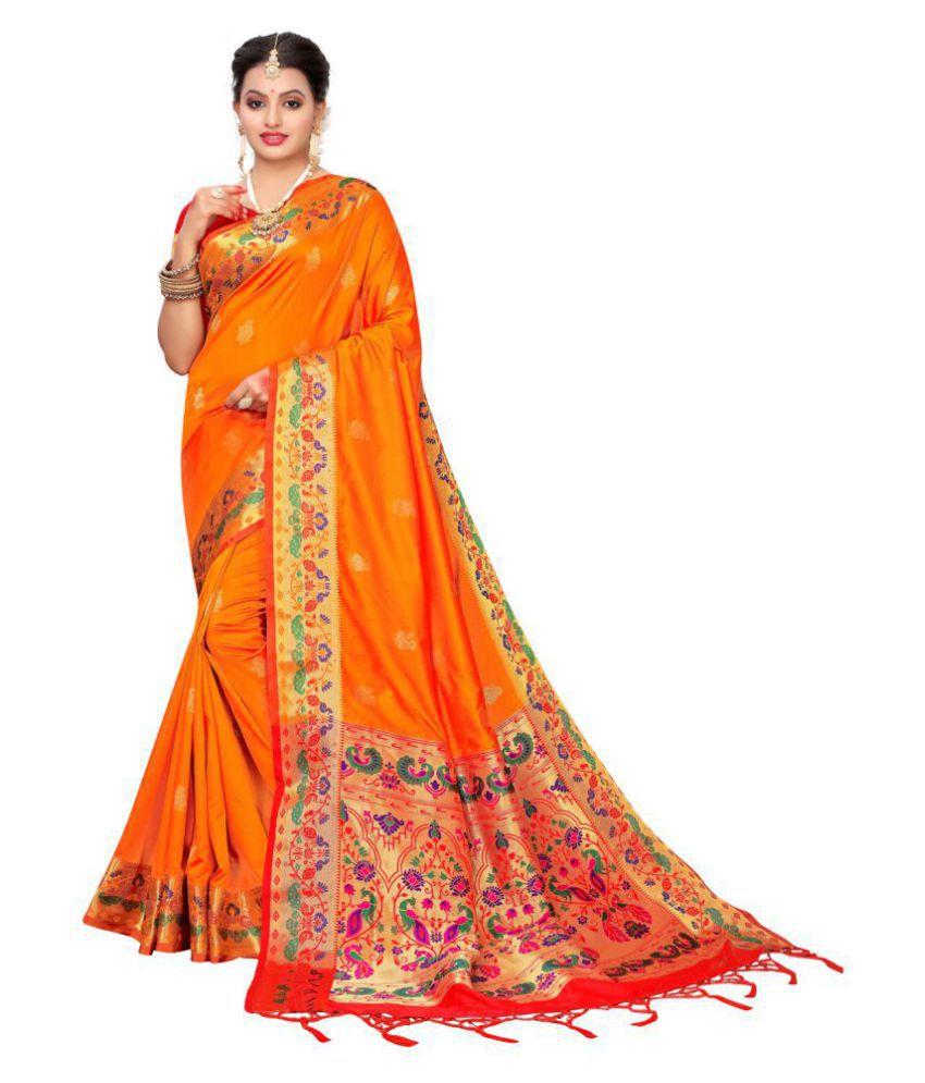 Sherine Orange Silk Saree