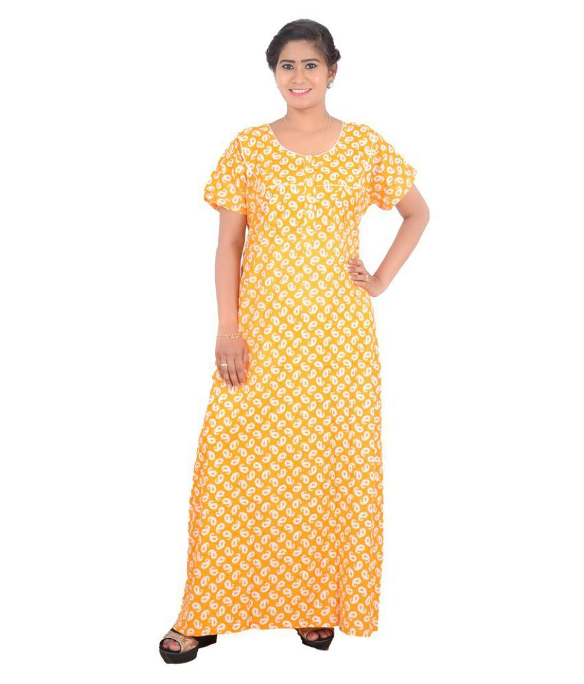 OSF Cotton Nighty & Night Gowns - Yellow
