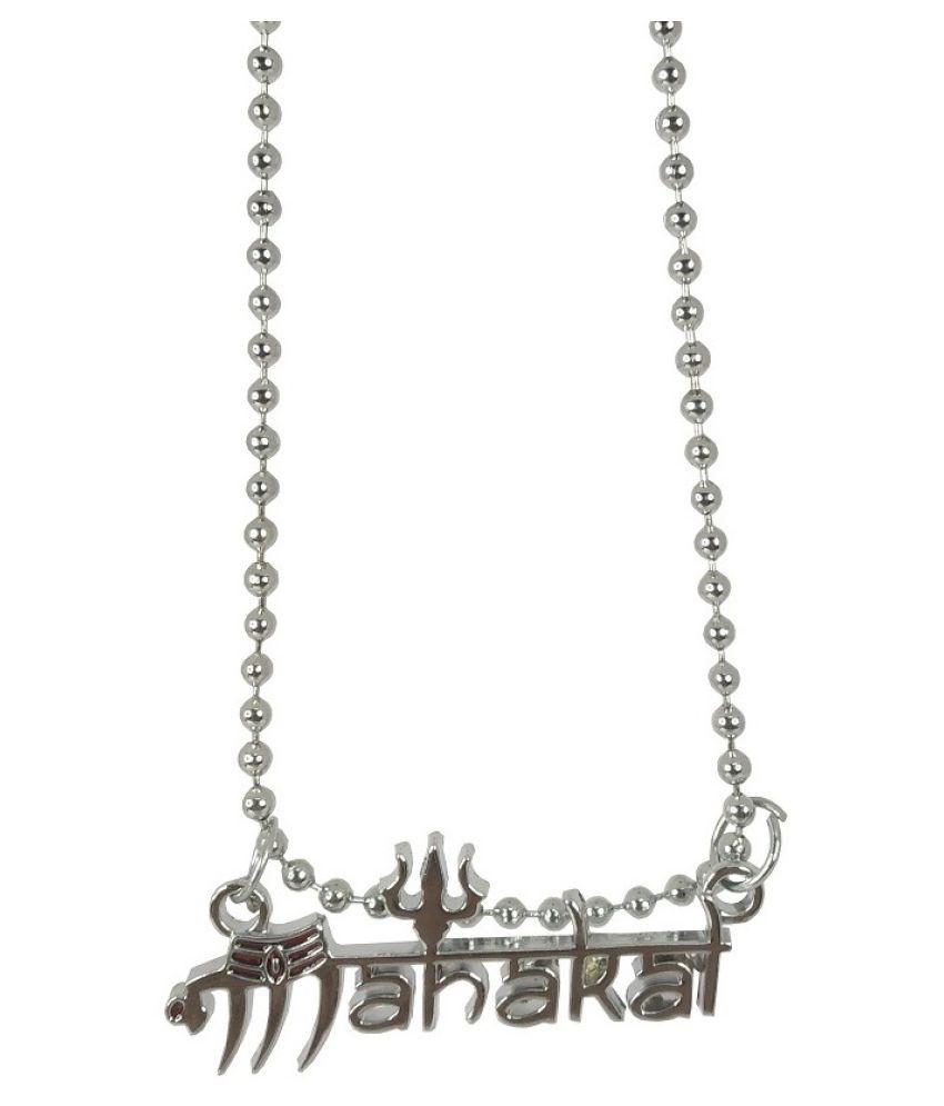Stylewell Unisex Metal Stylish & Fancy Solid Oxidize Silver Plated Lord Shiva Trishul Mahadev Bolenath Mahakal Locket Pendant Necklace With Chain Religious Spiritual Jewellery Set