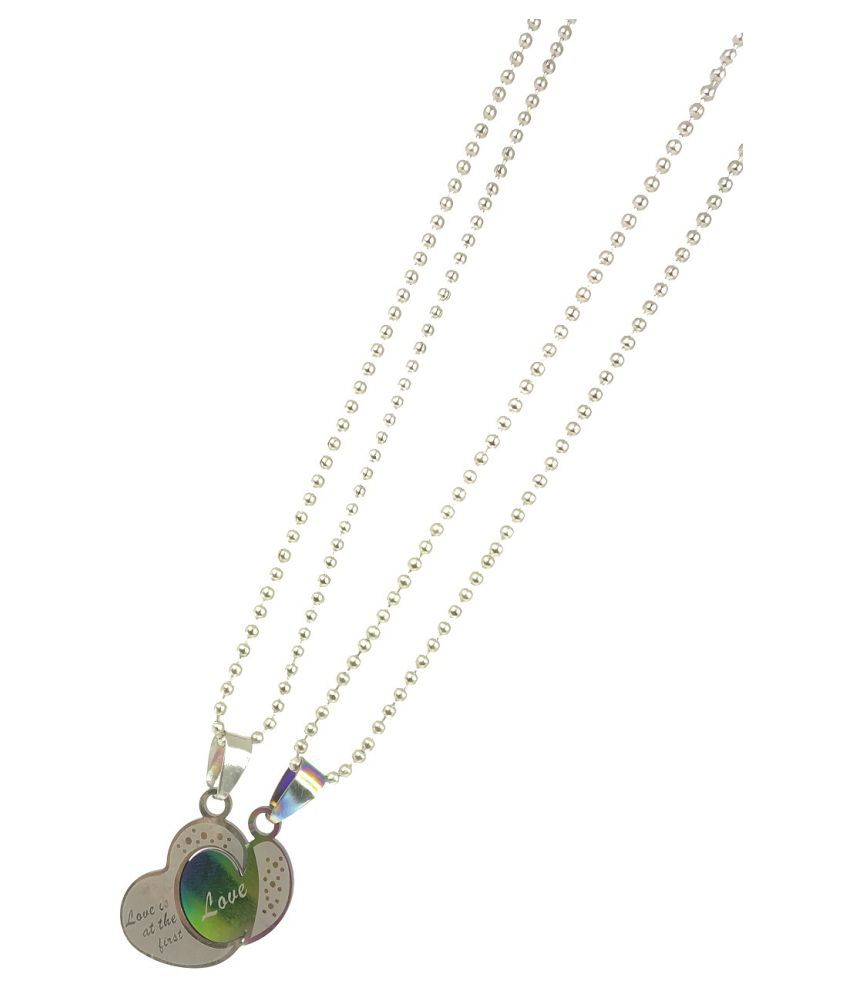 Stylewell Valentine's Day Special Metal Stainless Steel I Love You Romantic Heart Love Couple Silver And Green 2 In 1 Beautiful Duo Locket Pendant Necklace With Chain for Boy's And Girl's