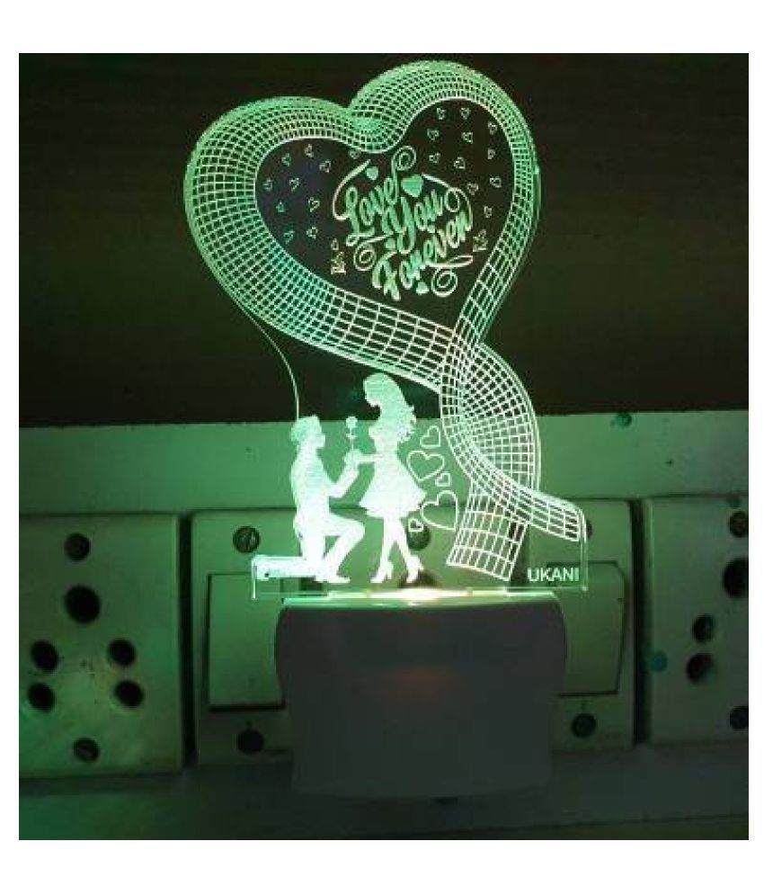 UKANI 3D ILLUSION ACRYLIC LED NIGHT LAMP WITH 7 COLOR Love You Forever Night Lamp Multi - Pack of 1