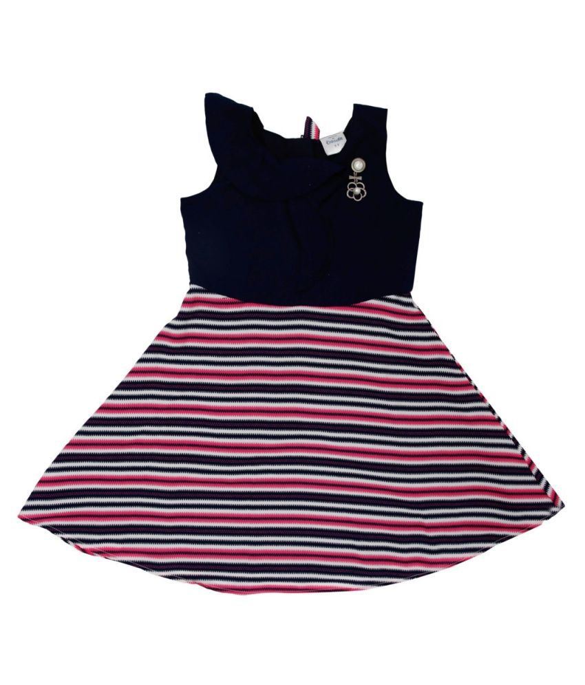 Navy and Pink Ruffle Dress