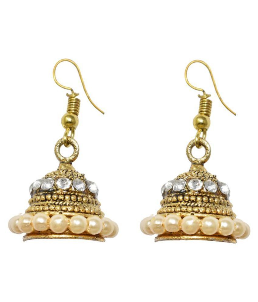 Jaishree Jewels Traditional Indian Ethnic Bollywood Style White Beads kundan Hanging Jhumki Earring