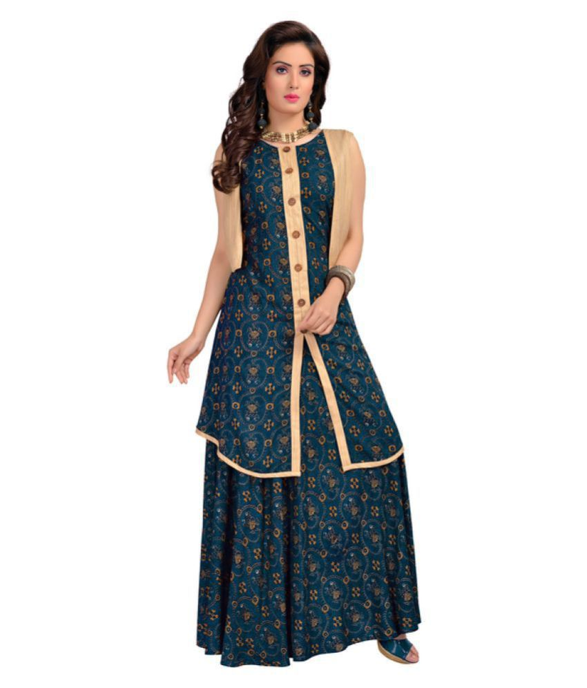 Madhuram Textiles Blue Rayon Anarkali Kurti
