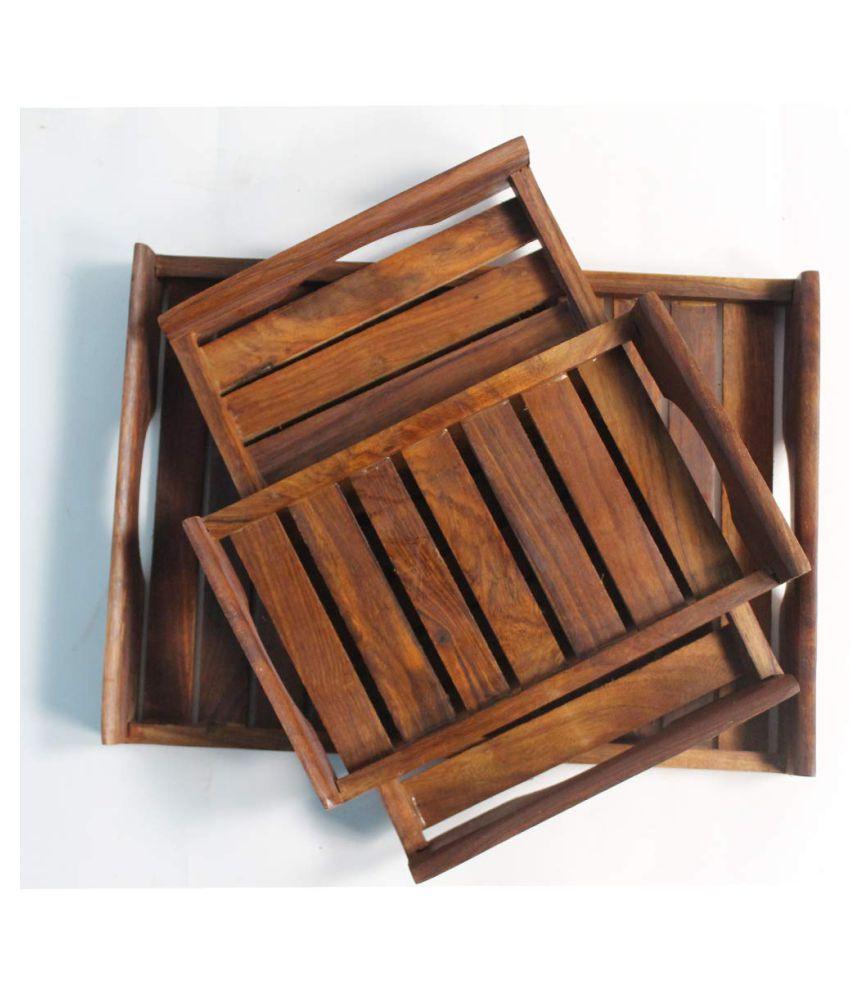 Magic Home Wooden Bar Tray 3 Pcs