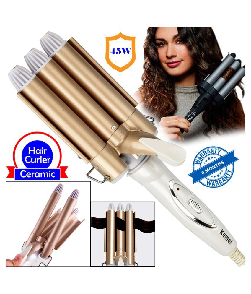 QM Lady Ceramic Triple Barrel Hair Curler Curling Iron Rod Waver Maker Tool 45W Multi Casual Fashion Comb