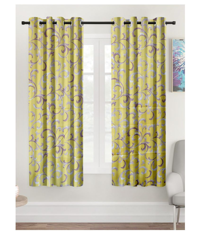 Hometique Set of 2 Window Semi-Transparent Eyelet Polyester Curtains Yellow