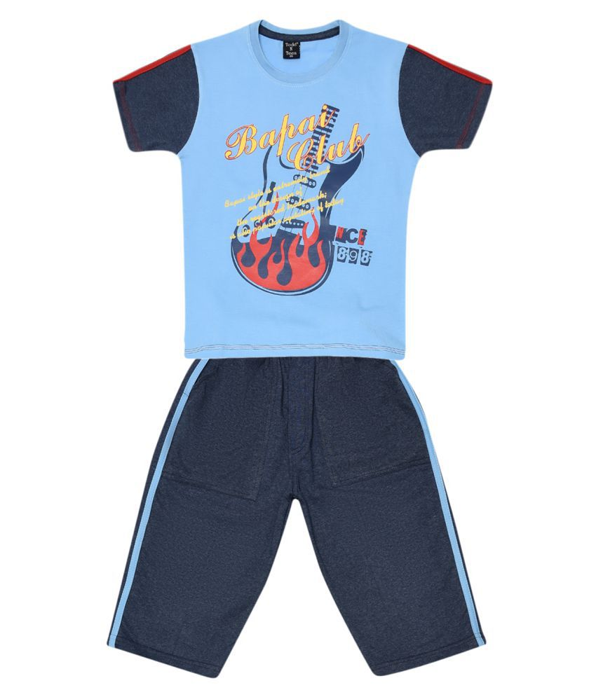 Todd N Teen Boys Cotton Pinted Tshirt, Casualwear, Clothing Set With Three Quarter Pant Blue 7-8 years