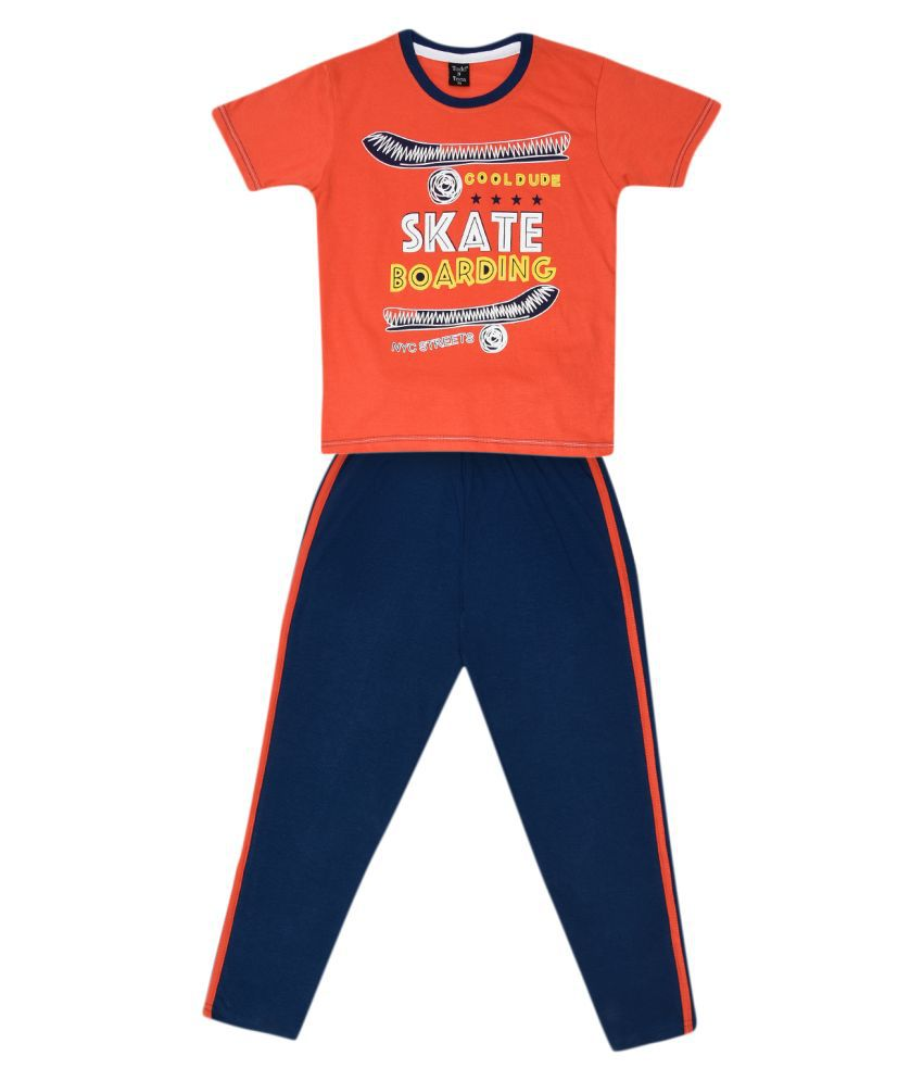 Todd N Teen Boys Cotton Pinted Tshirt, Casualwear, Clothing Set With Track Pant Full Pant Orange 5-6 years