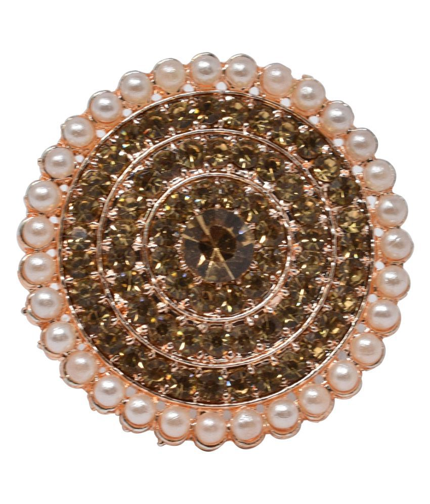 Gold Tone Clustered White Pearl CIrcular Kundan Adjustable Ring for Women ANd Girls
