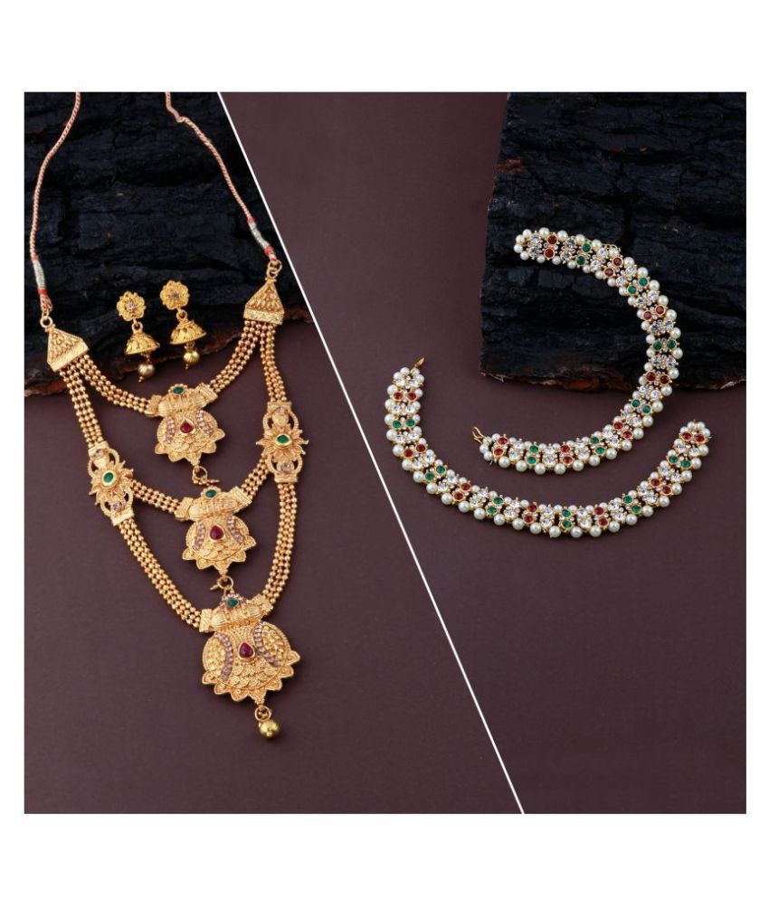 Designer Traditional Long Necklace  Set With Anklet Jewllery  For Women Girls