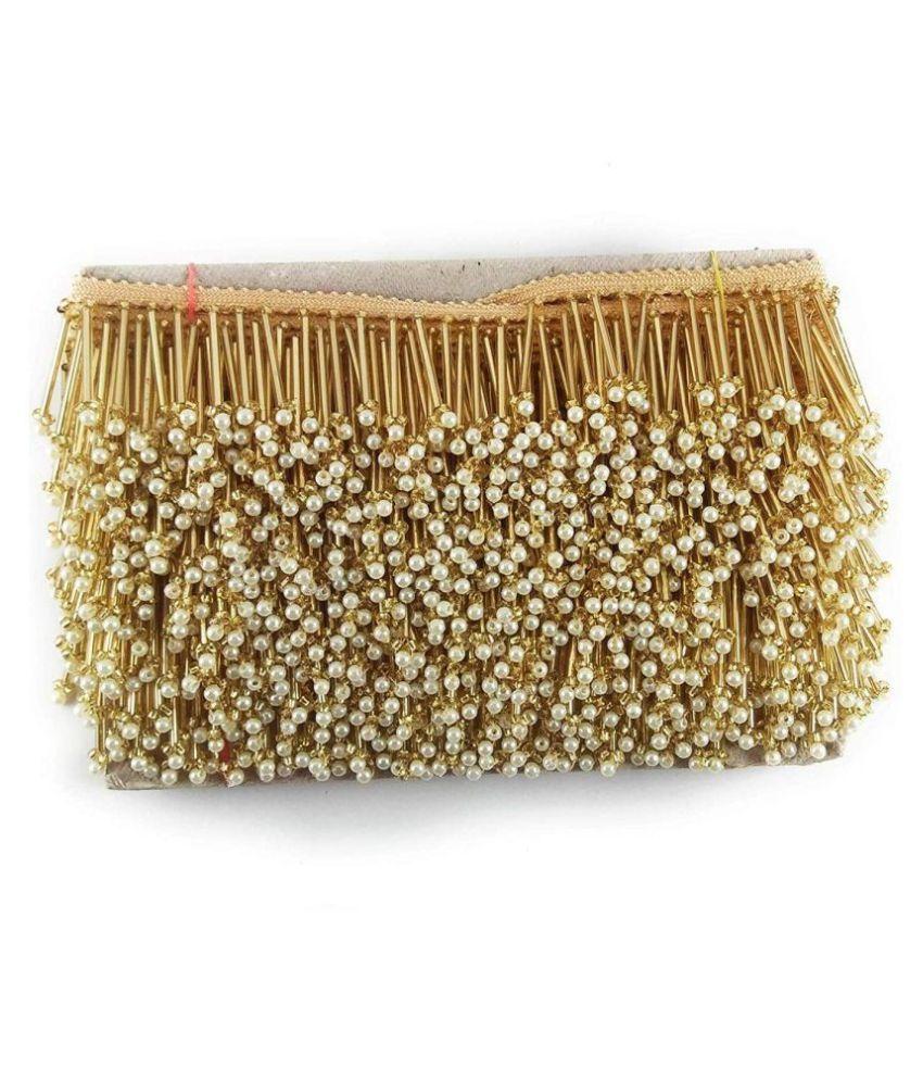 Gilded Cloud Vintage Moti Pipe Latkan Border Lace for Dresses Sarees Lehenga Suits Blouses Dupatta Chunri & Craft (Gold, Small Moti)