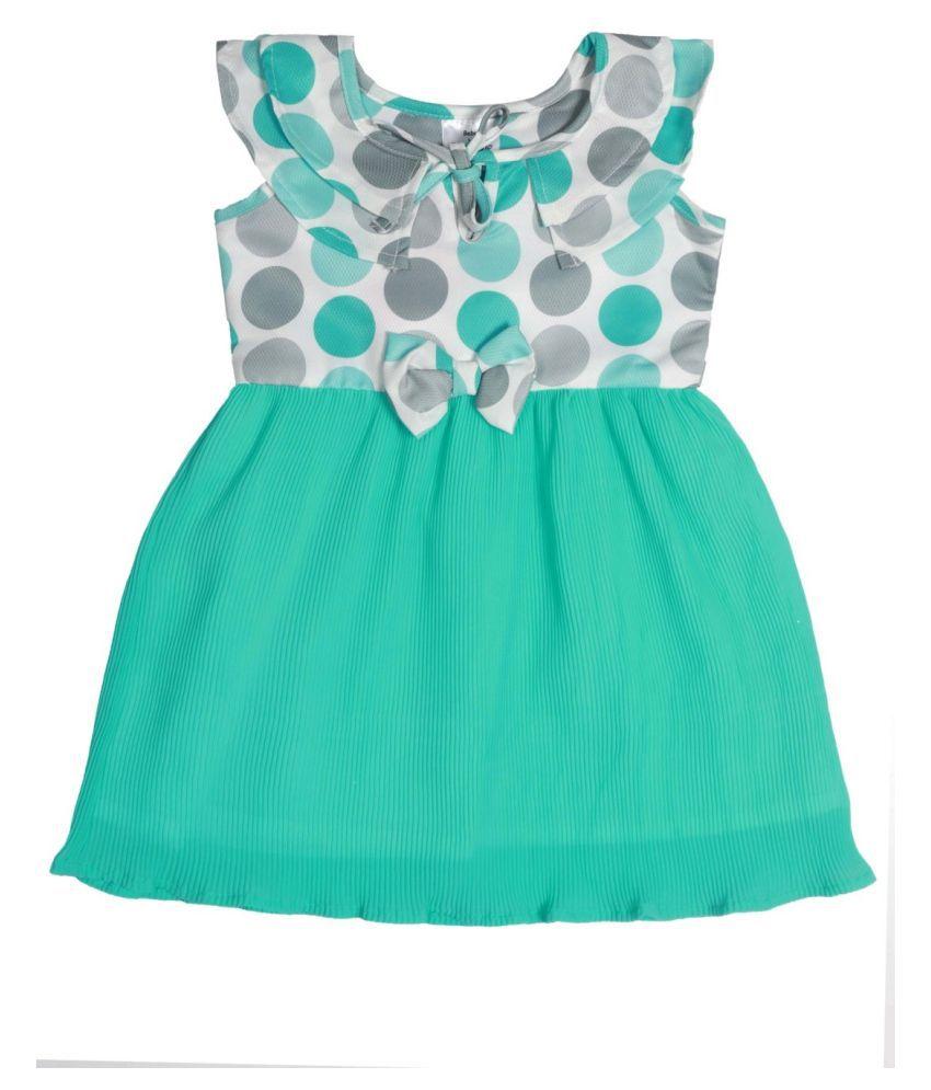 Green Printed Top & Chiffon Bottom Tie up Dress