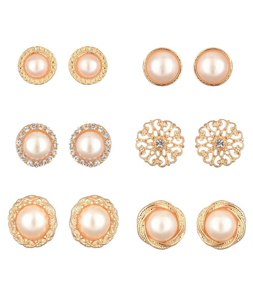 Accessorisingg Set of 6 Pairs Statement Gold and Pearl Stud Earrings [ER034]