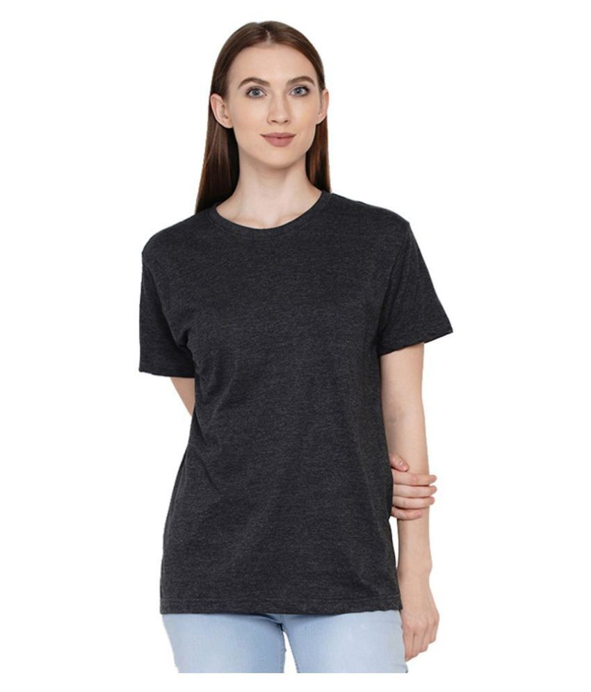 Knits and Weave Cotton Black T-Shirts