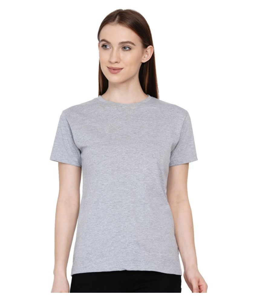 Knits and Weave Cotton Grey T-Shirts