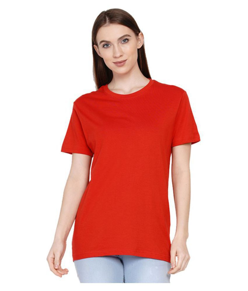 Knits and Weave Cotton Red T-Shirts