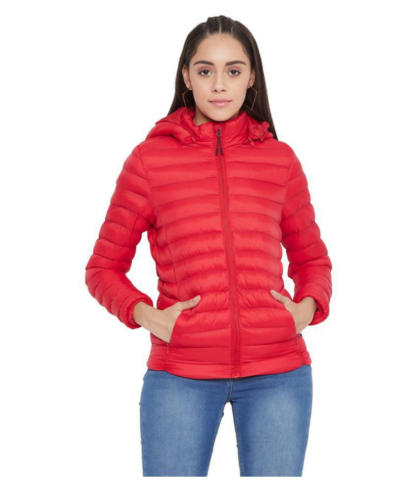 Crimsoune Club Polyester Red Quilted/Padded Jackets