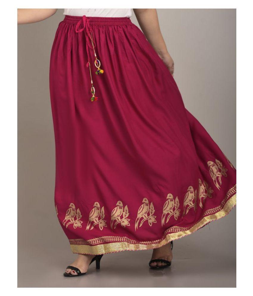 Girly Girls Rayon A-Line Skirt - Pink