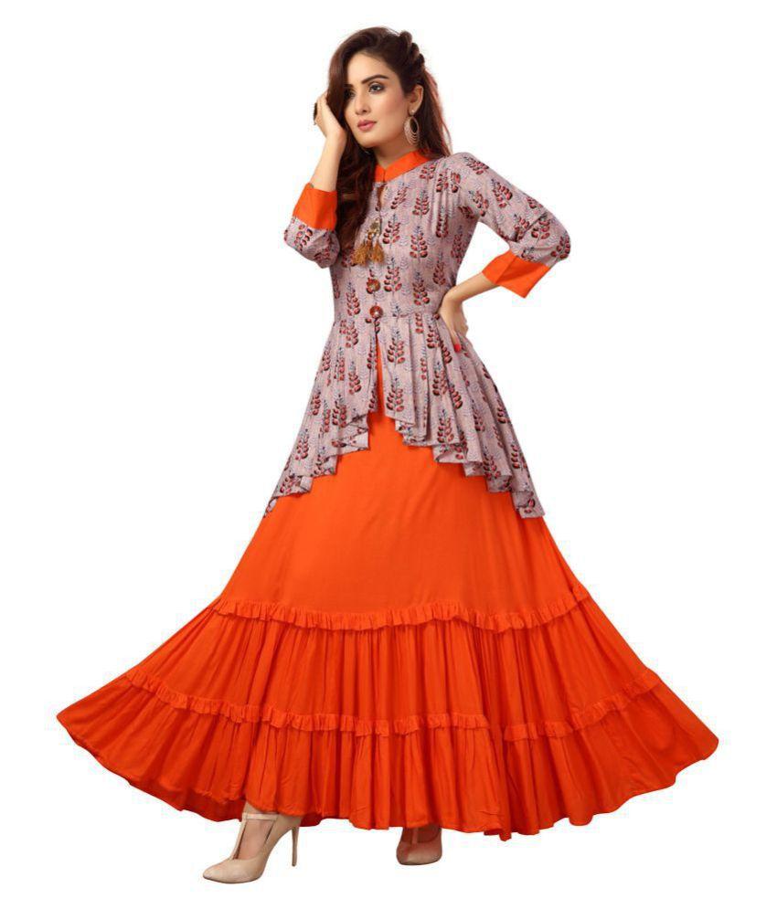 Madhuram Textiles Peach Rayon Anarkali Kurti