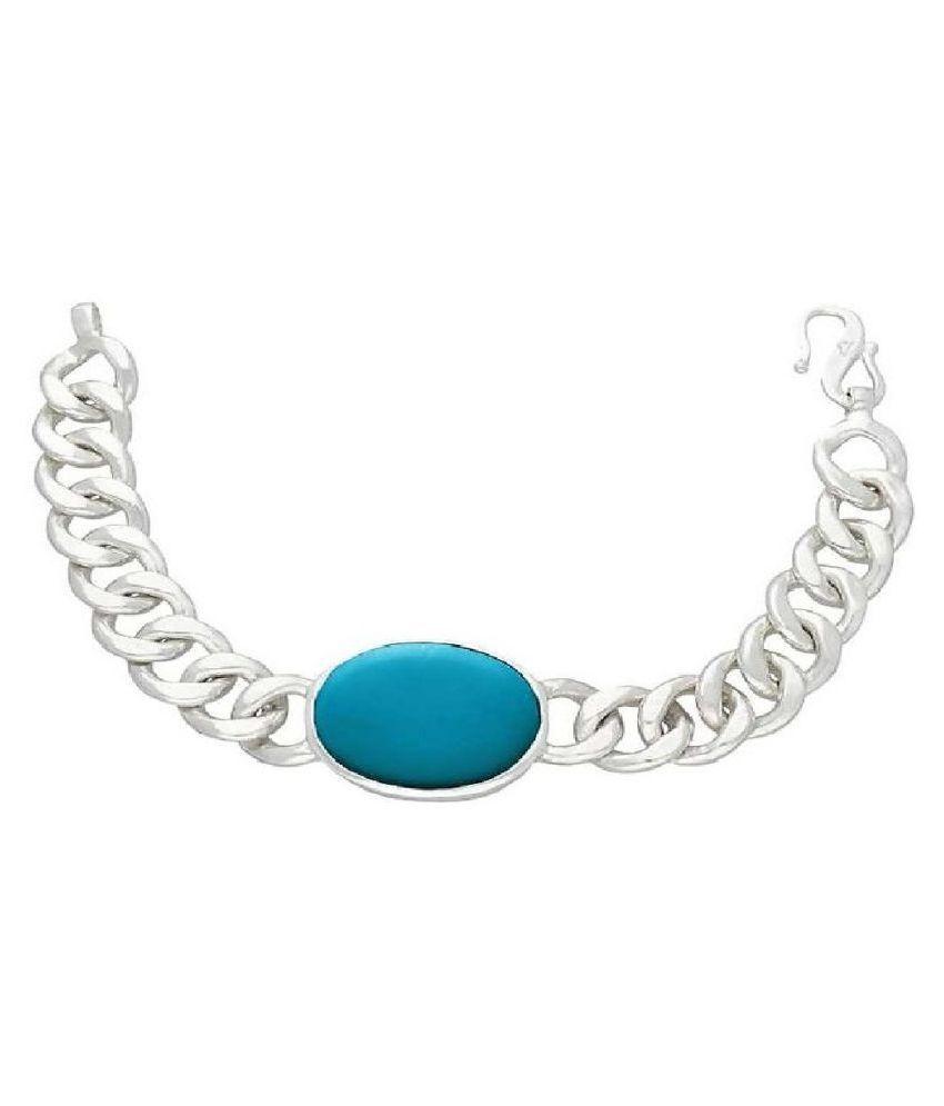 Ratan Bazaar - Silver  Firoza Stone Salman Khan Bracelet  for Men and Boys