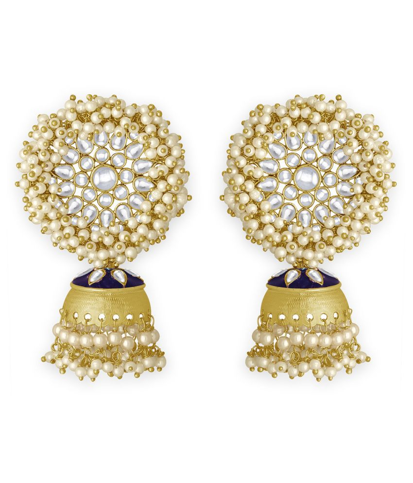 Spargz Floral Festive Wear Gold Plated Kundan Jhumki Earring For Women TER_212