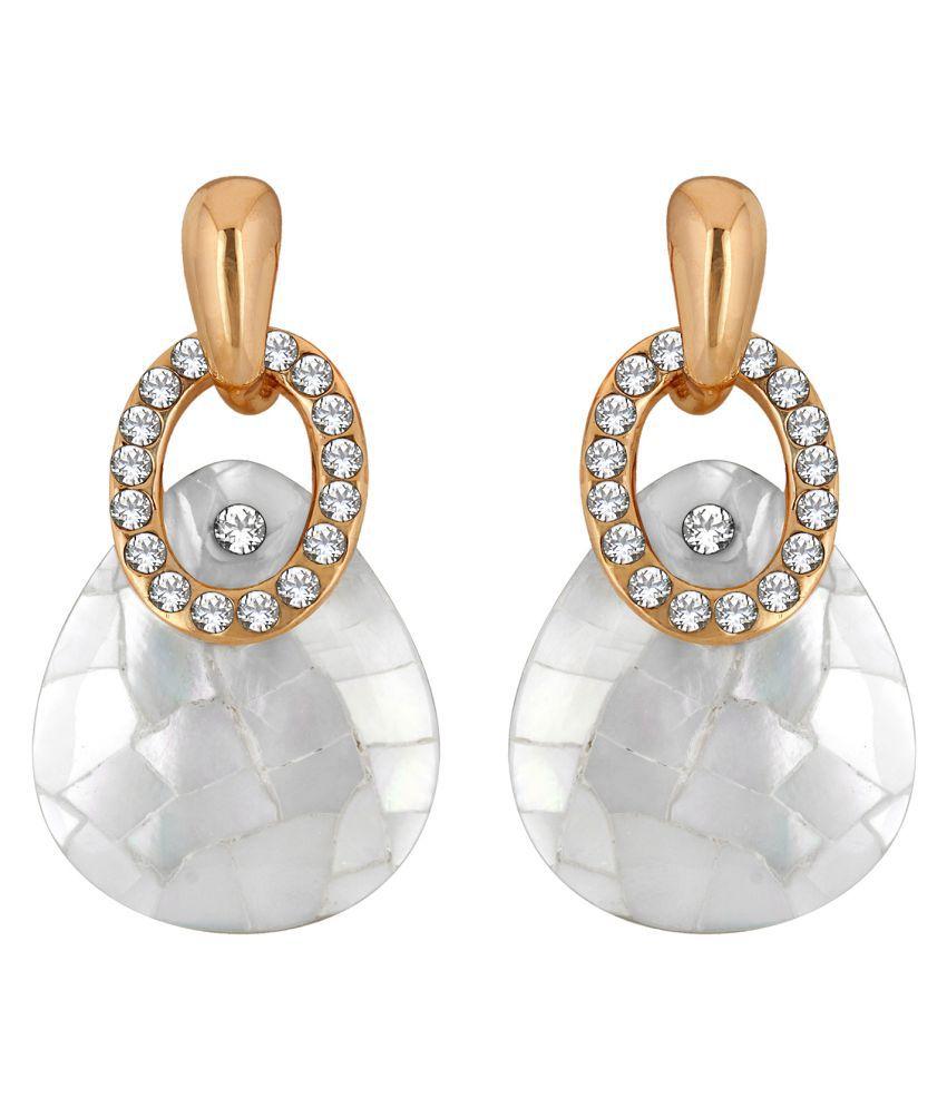 Spargz Sea Shell Alloy Gold Plated AD Diamond Dangler Earring For Women OER_5295