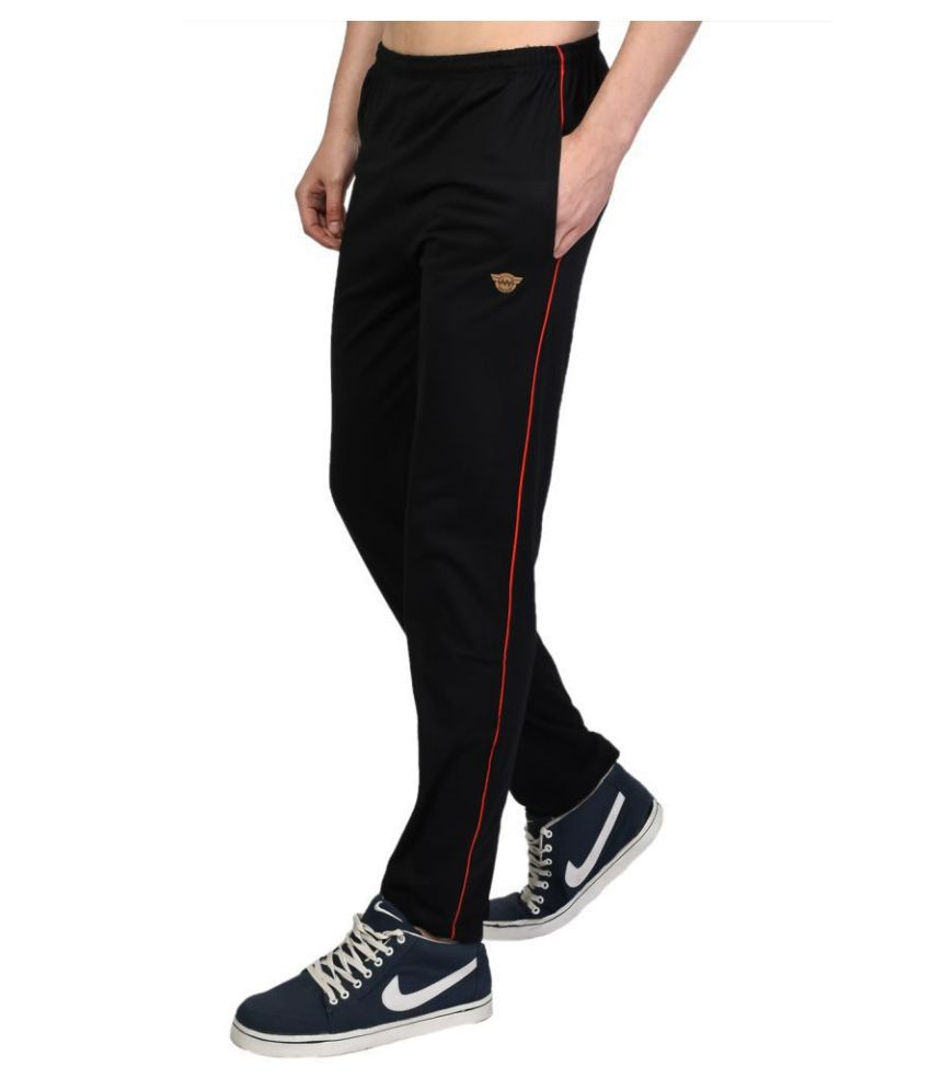 White Moon Black Cotton Trackpants Pack of 1