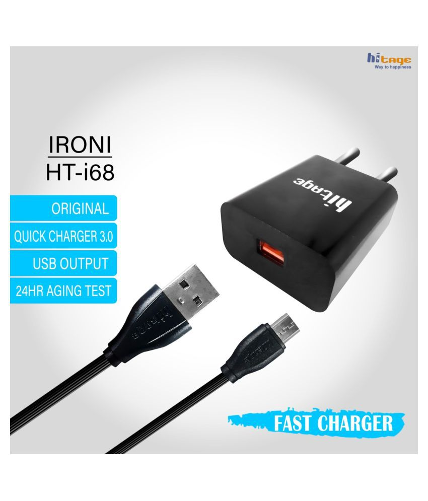 Hitage 1.5A USB Fast Charging Travel Adapter with Micro USB cable for MI, Xiaomi, Redmi, Samsung, Oppo, Vivo  Black