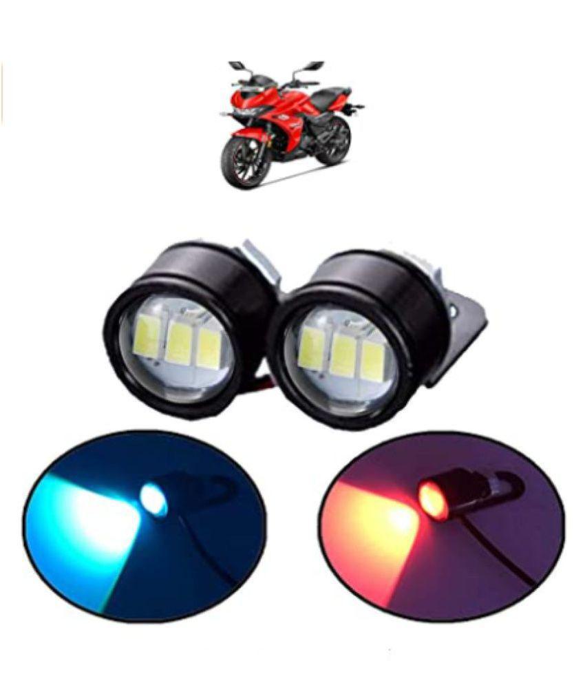 1 Pair of Waterproof RED Blue 12v Motorcycle Led Strobe Lights Motor Motorcycle Led Strobe Flash Warning Brake Light Lamp 12v Spotlight for ALL BIKES