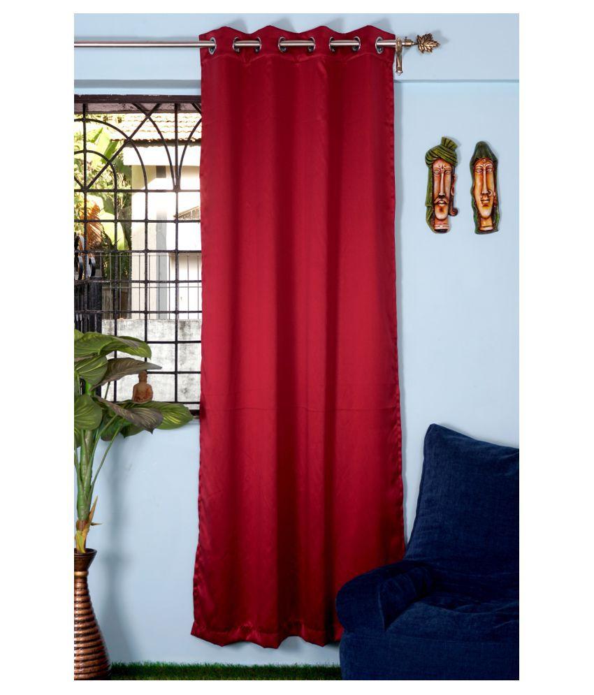 PardaOnline Single Window Blackout Room Darkening Eyelet Polyester Curtains Red