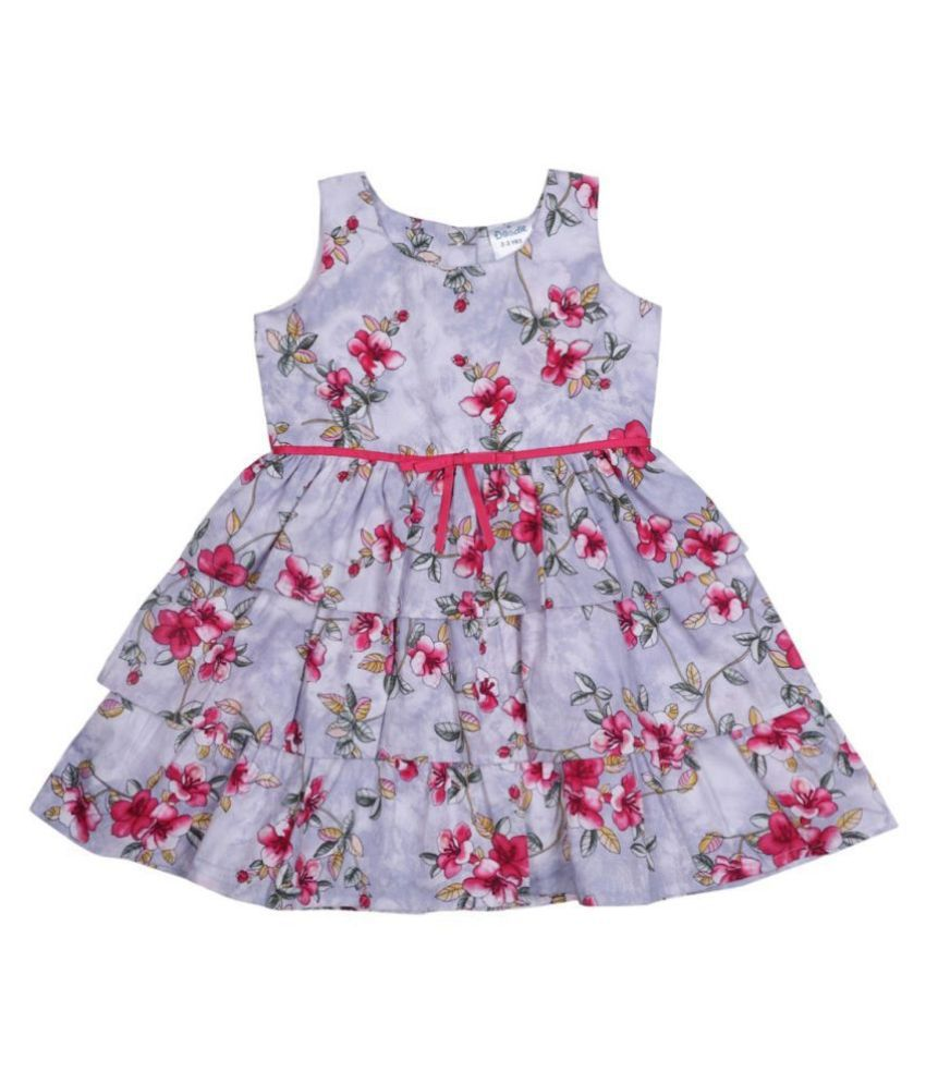 Doodle Pink Coloured Sleeveless Step Dress for Girls