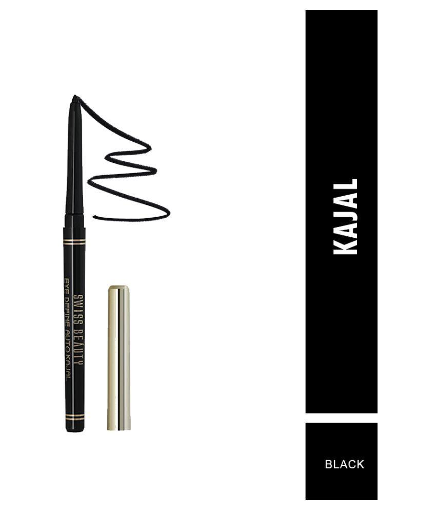 Swiss Beauty Smudge Proof Kajal Pencil (Black),Pack of 2, 0.35gm each