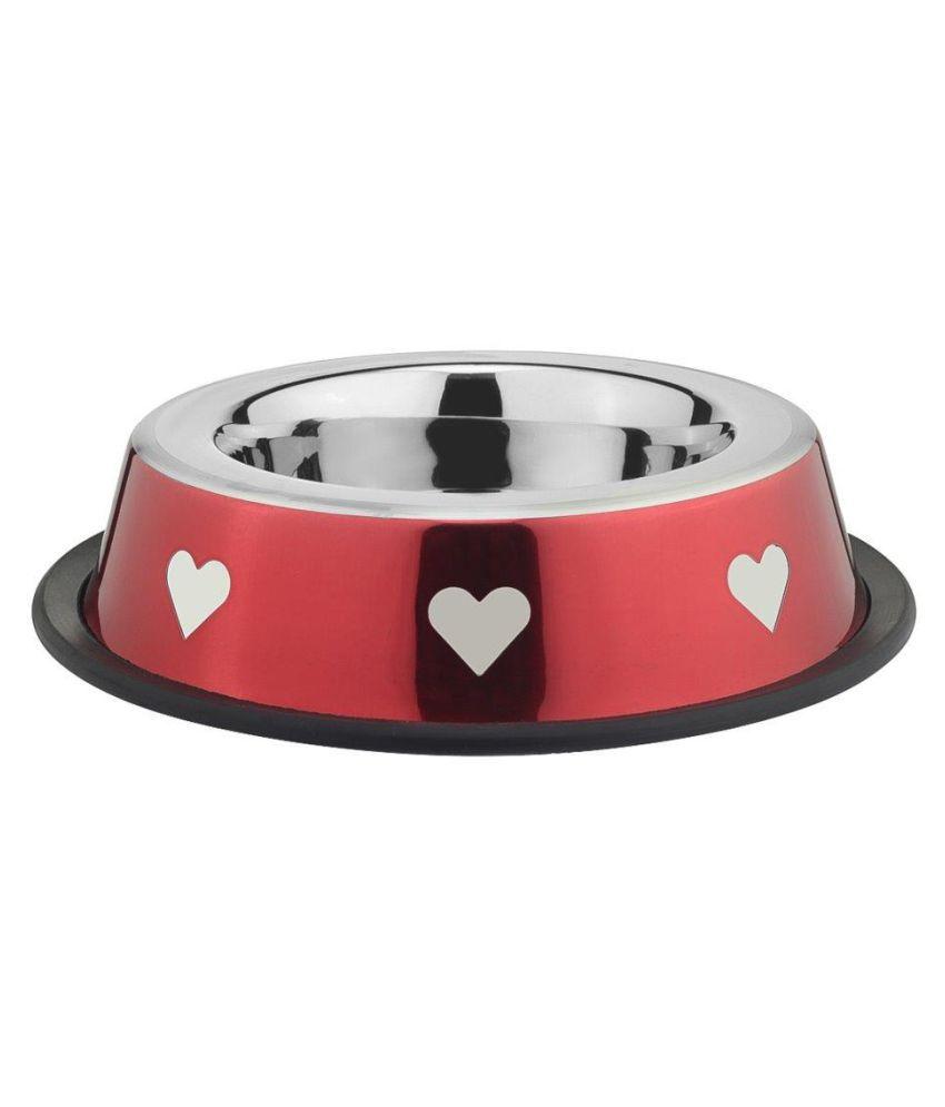 Prinox Stainless Steel Stylish Heart Design Dog Bowl,Red
