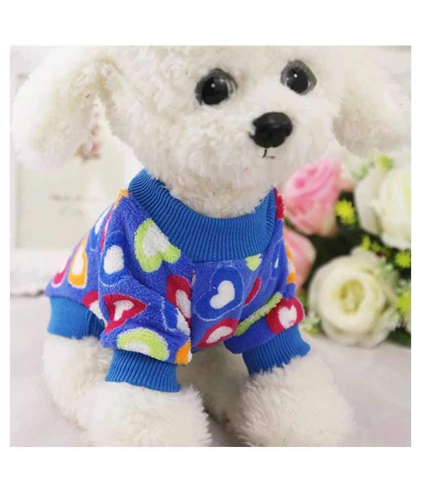 KUTKUT Colourful Heart Pattern Coral Velvet Soft T-Shirt for Small Puppy/ Cats ( SIZE: L, Chest: 42 cm, Back Length: 30cm)