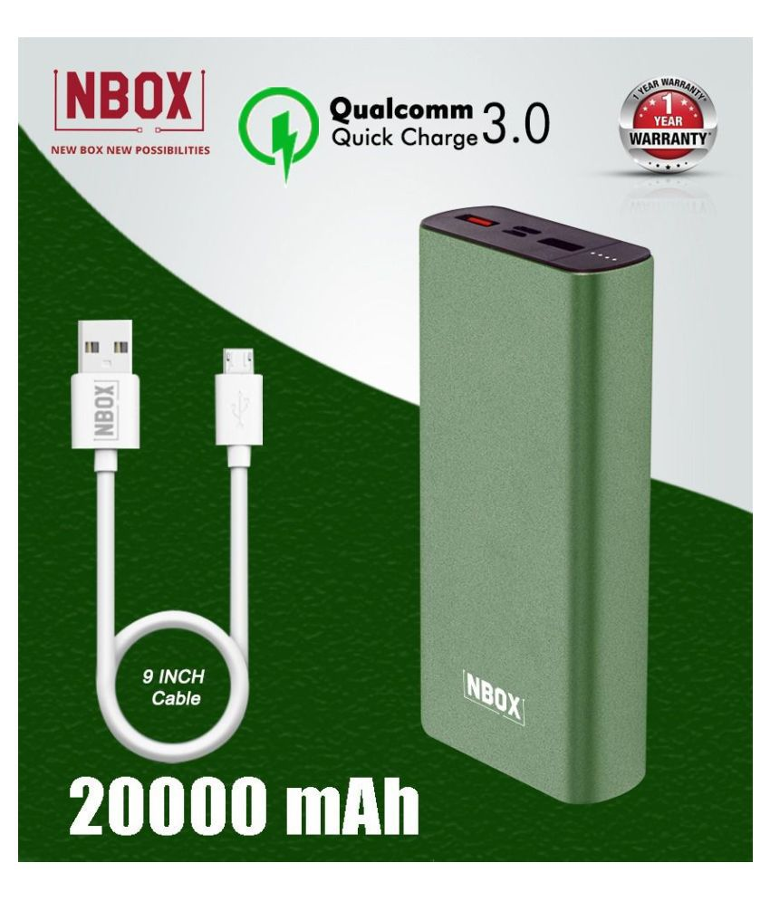 NBOX K2 Qualcomm Quick Charge 3A 20000 -mAh Li-Polymer Power Bank With Type C & Micro USB Inputs-Olive Green