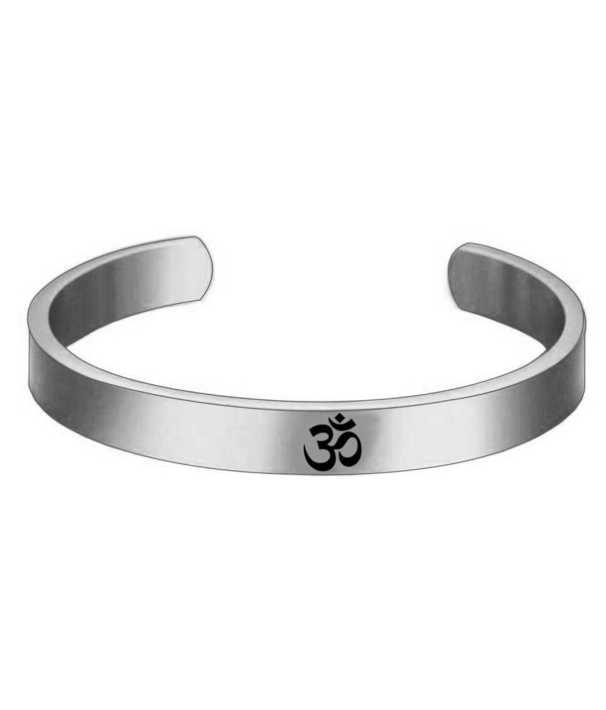 Silver Plated Stylish Bracelet Adjustable OM Design Kada for Men