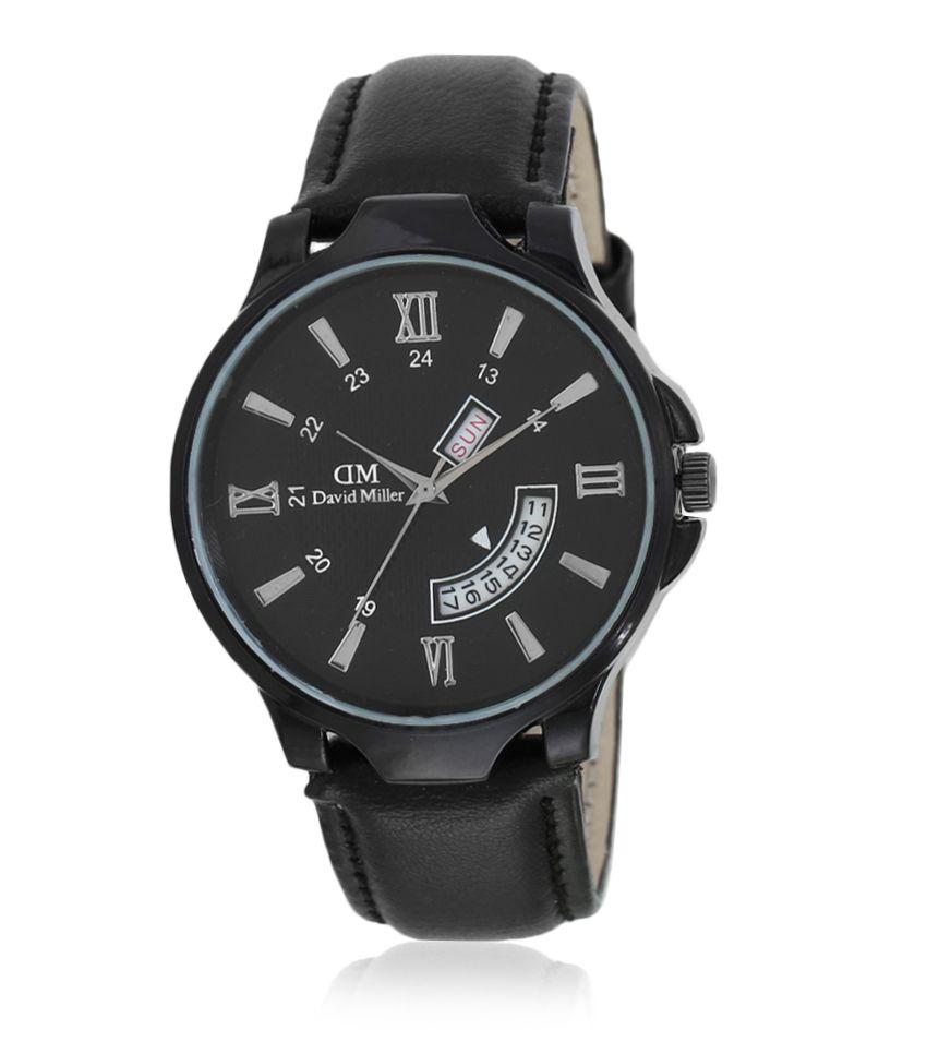 David Miller Black Dial Black PU Leather Strap Men's Watch - DMRCM199