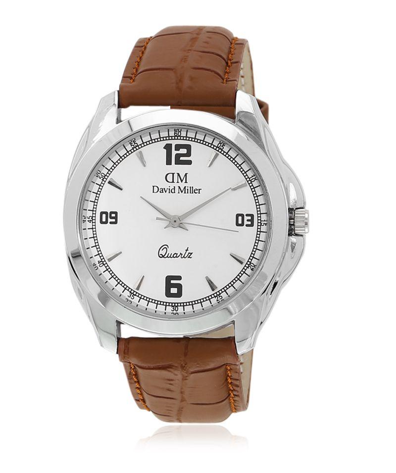 David Miller White Dial Tan Brown PU  Strap Men's Watch - DMRCM4C