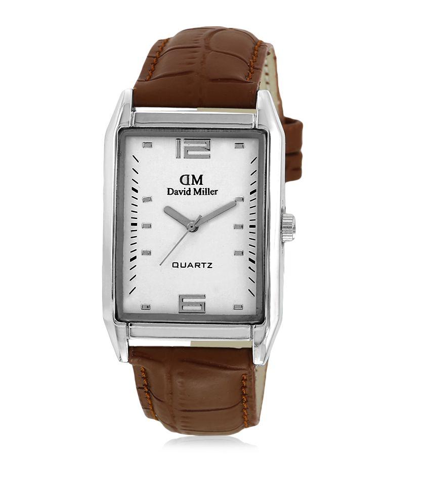 David Miller White Dial Tan Brown PU Leather Strap Men's Watch - DMRCM1C