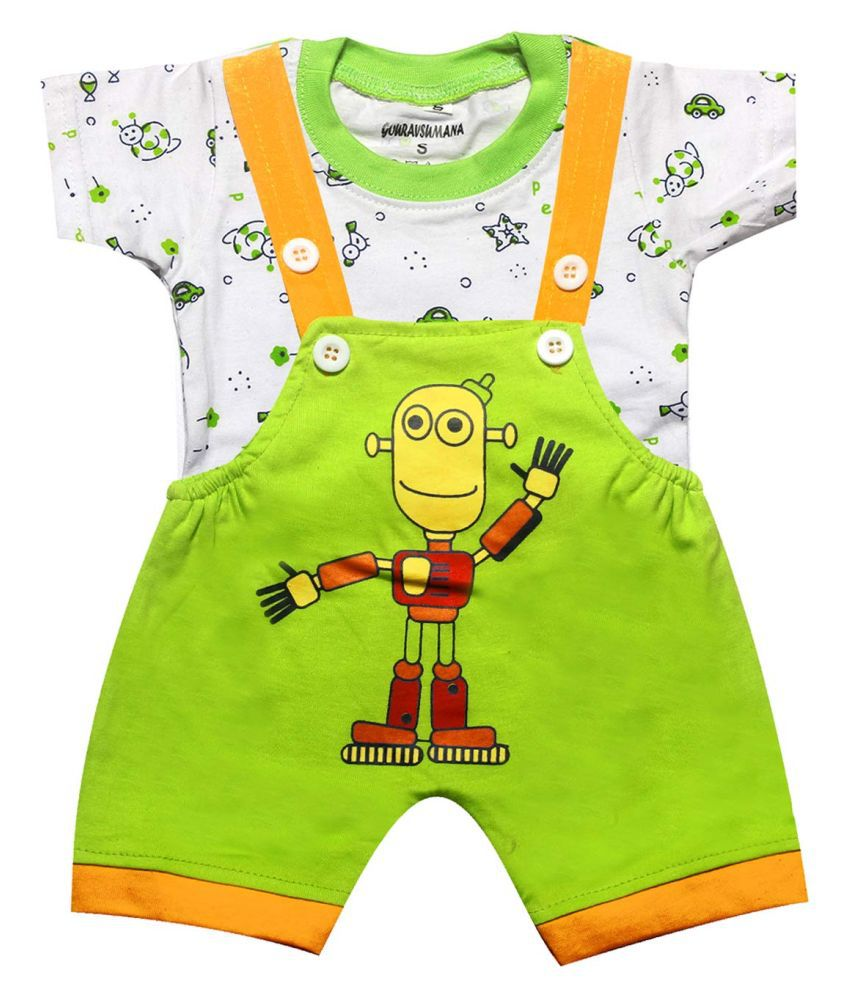 GOURAVSUMANA Baby Boy's and Baby Girl's Printed Cotton Dungaree Romper (Green & White; 9-12 Months) Pack of 1