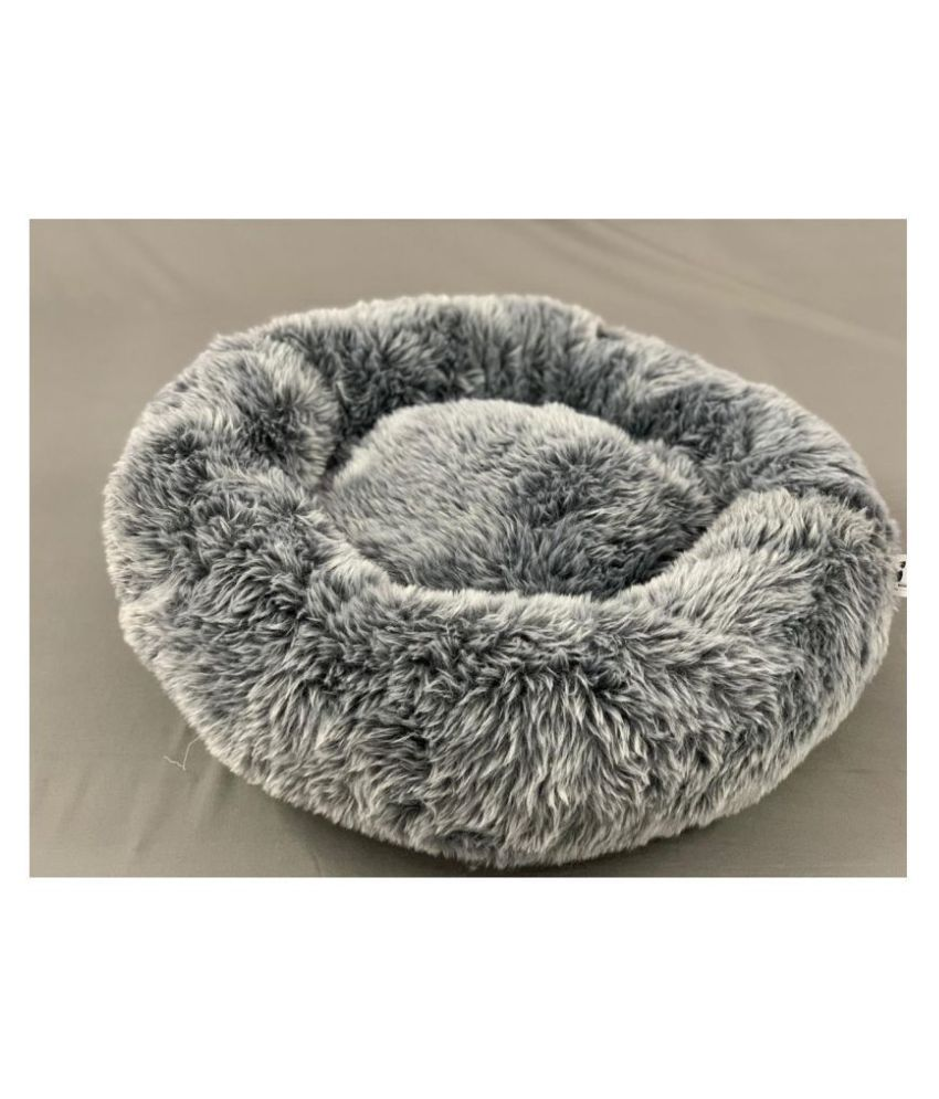 Small To Big Tails Stone Grey Fur Bed