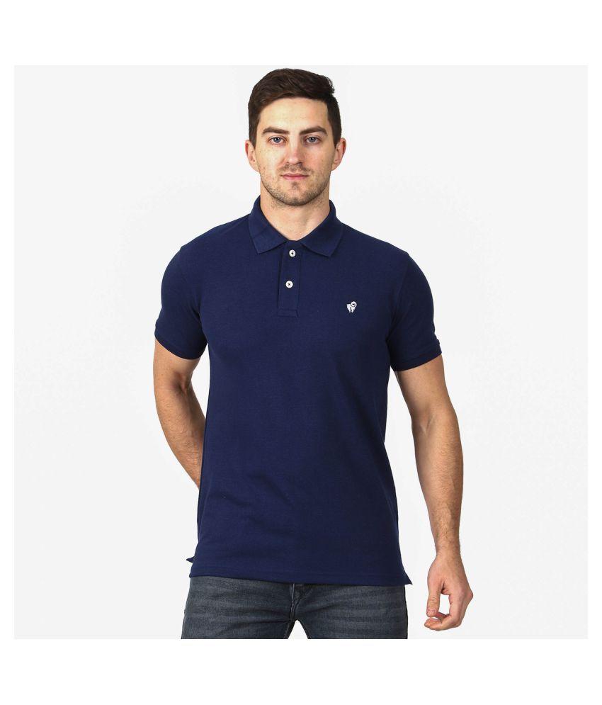Aspire Cotton Blend Navy Plain Polo T Shirt