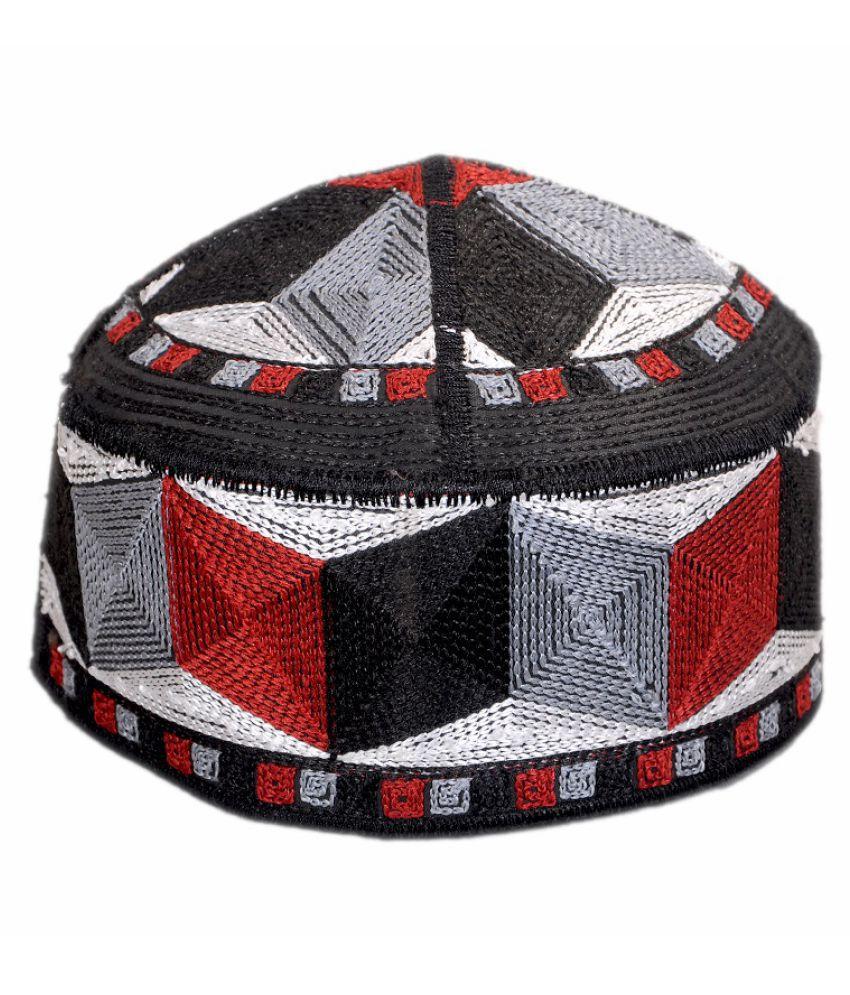 PAKISTANI NAMAZI TOPI Red Embroidered Cotton Caps
