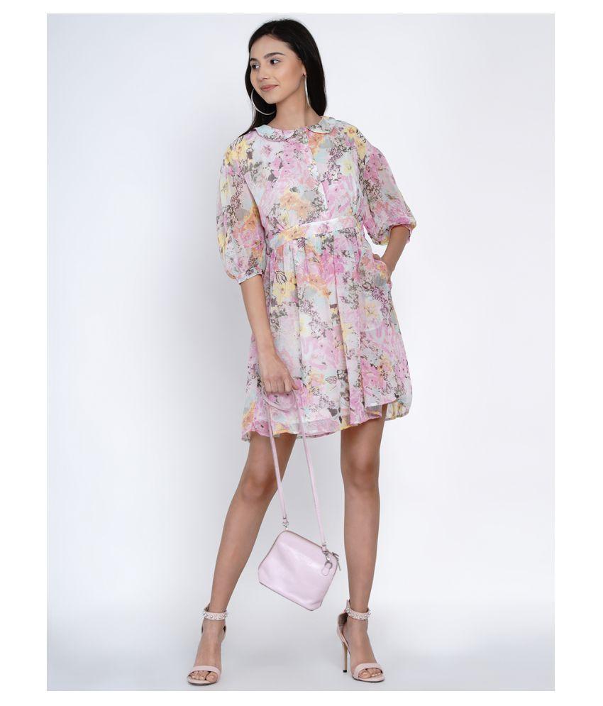 Abiti Bella Georgette Pink Shirt Dress